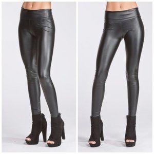 Faux Leather Matte Black Legging